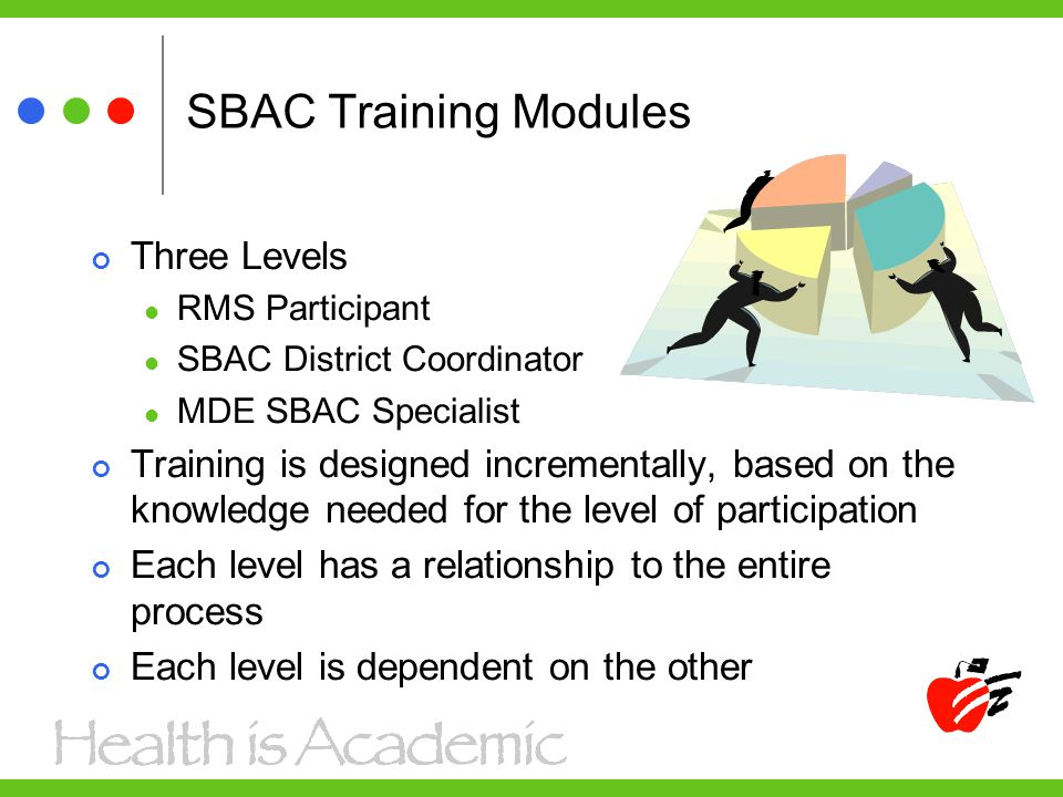 SBAC Training Modules Three Levels RMS Participant SBAC District Coordinator MDE SBAC Specialist Training is designed incrementally, based on the know