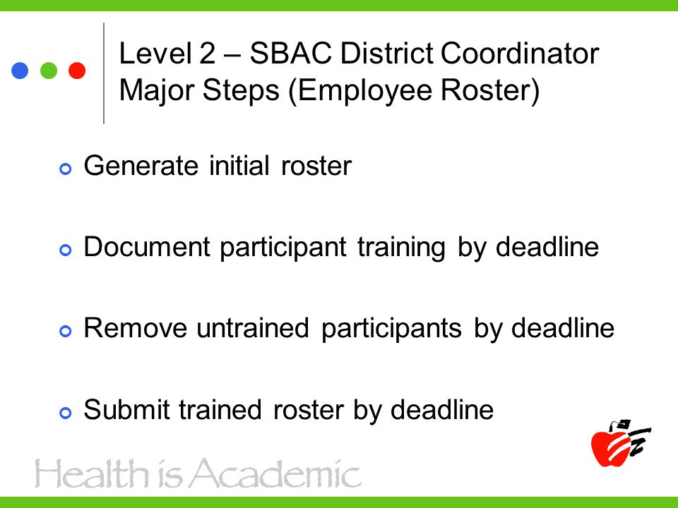 Level 2 – SBAC District Coordinator Major Steps (Employee Roster) Generate initial roster Document participant training by deadline Remove untrained p