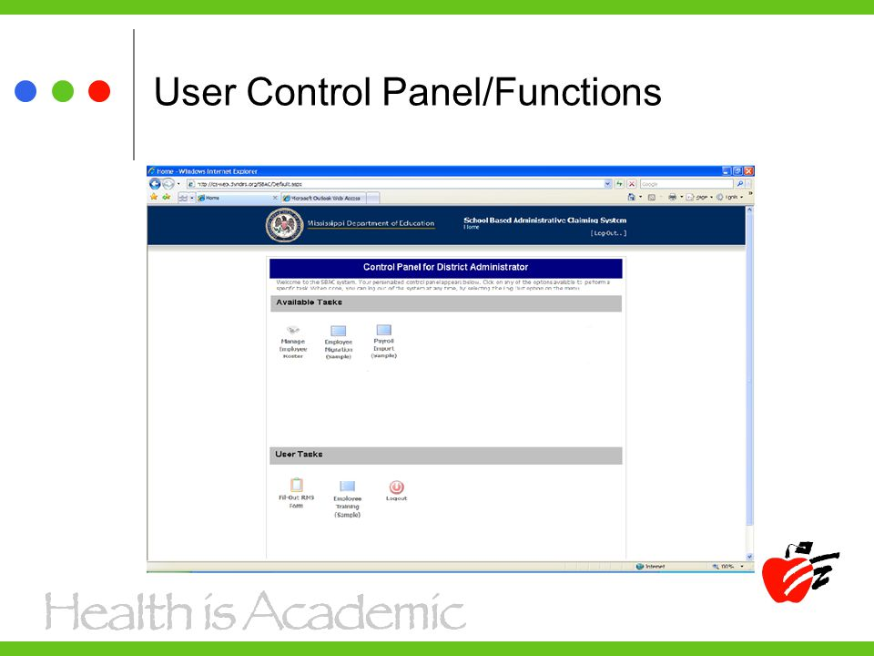 User Control Panel/Functions
