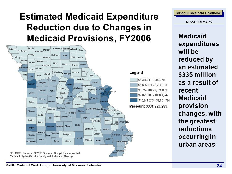 ©2005 Medicaid Work Group, University of Missouri--Columbia Missouri Medicaid Chartbook 24 Estimated Medicaid Expenditure Reduction due to Changes in Medicaid Provisions, FY2006 Medicaid expenditures will be reduced by an estimated $335 million as a result of recent Medicaid provision changes, with the greatest reductions occurring in urban areas MISSOURI MAPS