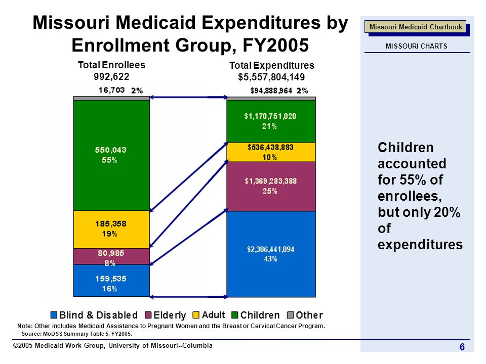 ©2005 Medicaid Work Group, University of Missouri--Columbia Missouri Medicaid Chartbook 6 Missouri Medicaid Expenditures by Enrollment Group, FY2005 Source: MoDSS Summary Table 5, FY2005.
