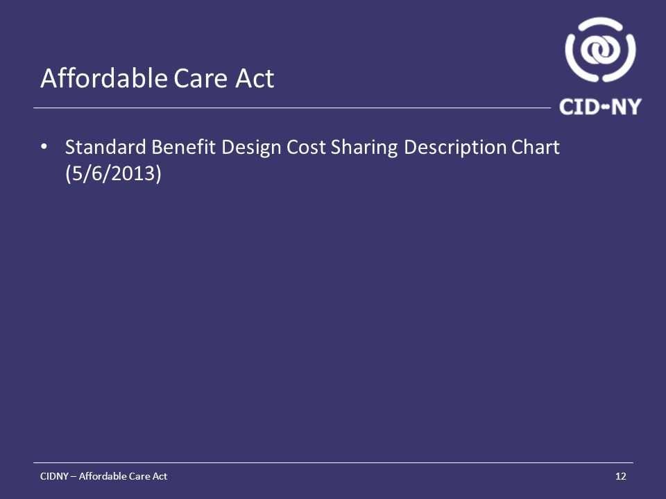 Affordable Care Act Standard Benefit Design Cost Sharing Description Chart (5/6/2013) CIDNY – Affordable Care Act12
