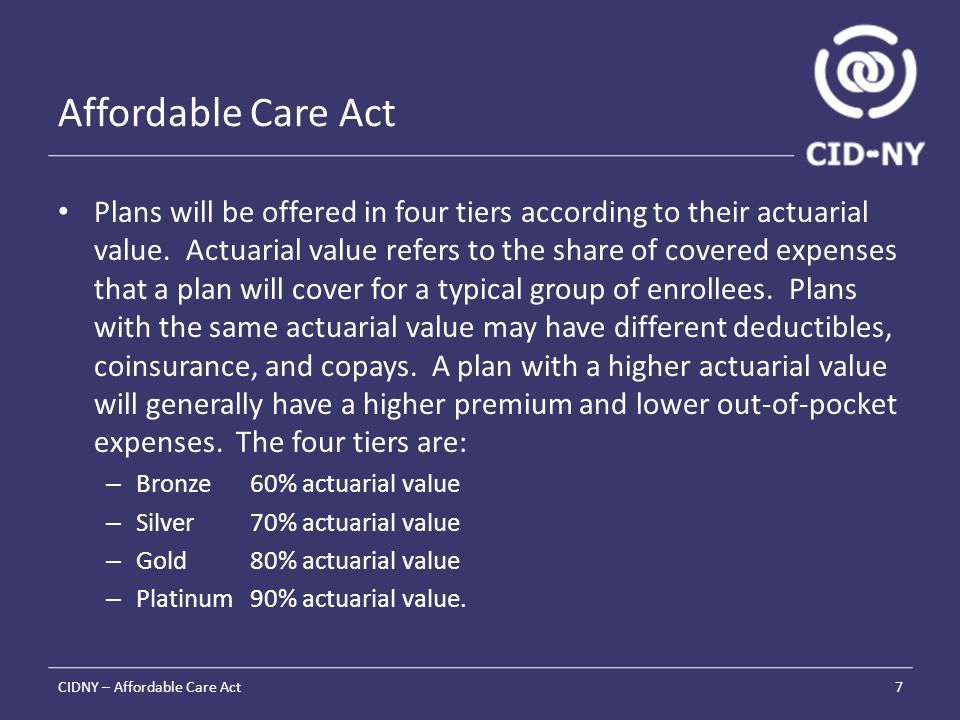 Affordable Care Act Plans will be offered in four tiers according to their actuarial value.
