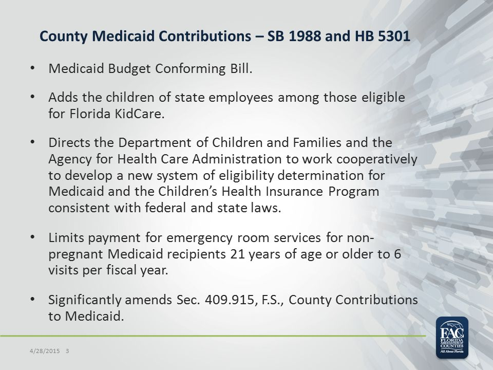 County Medicaid Contributions – SB 1988 and HB 5301 Medicaid Budget Conforming Bill. Adds the children of state employees among those eligible for Flo