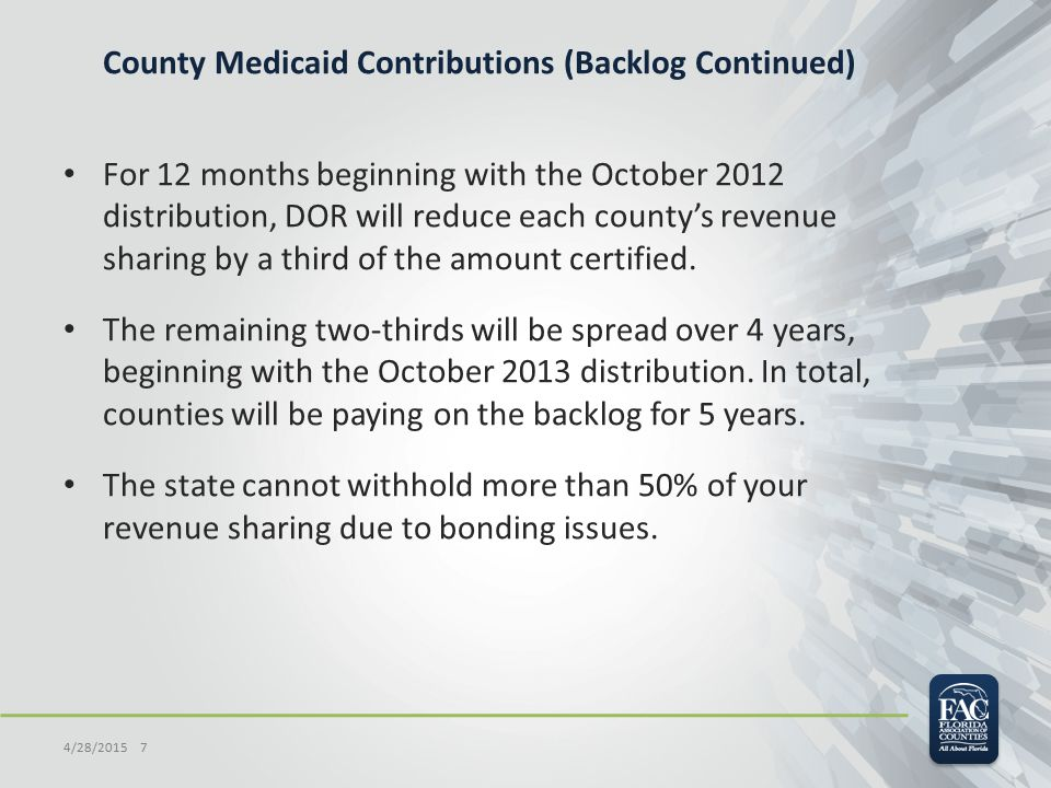 County Medicaid Contributions (Backlog Continued) For 12 months beginning with the October 2012 distribution, DOR will reduce each county's revenue sharing by a third of the amount certified.