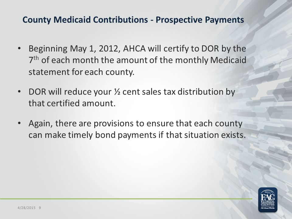 County Medicaid Contributions - Prospective Payments Beginning May 1, 2012, AHCA will certify to DOR by the 7 th of each month the amount of the monthly Medicaid statement for each county.