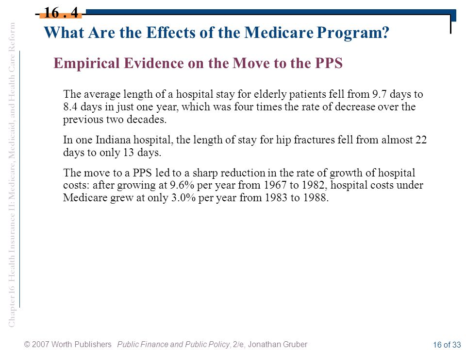 Chapter 16 Health Insurance II: Medicare, Medicaid, and Health Care Reform © 2007 Worth Publishers Public Finance and Public Policy, 2/e, Jonathan Gruber 16 of 33 What Are the Effects of the Medicare Program.