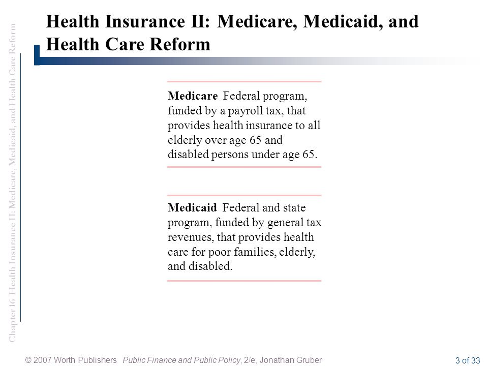 Chapter 16 Health Insurance II: Medicare, Medicaid, and Health Care Reform © 2007 Worth Publishers Public Finance and Public Policy, 2/e, Jonathan Gruber 3 of 33 Medicare Federal program, funded by a payroll tax, that provides health insurance to all elderly over age 65 and disabled persons under age 65.