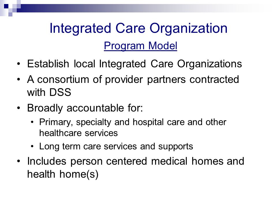 Person Centered Health Home Core Team  Primary Care Providers (PCPs)  APRNs for ongoing support during and between regular visits, as well as in hospital or rehab facilities to facilitate communication and discharge planning  Care coordinators (w/ appropriate specialization)  Access Agency Case Managers (or other waiver case manager in out years)  Pharmacist to provide consultation for persons with multiple chronic medications, and  Behavioral health practitioners