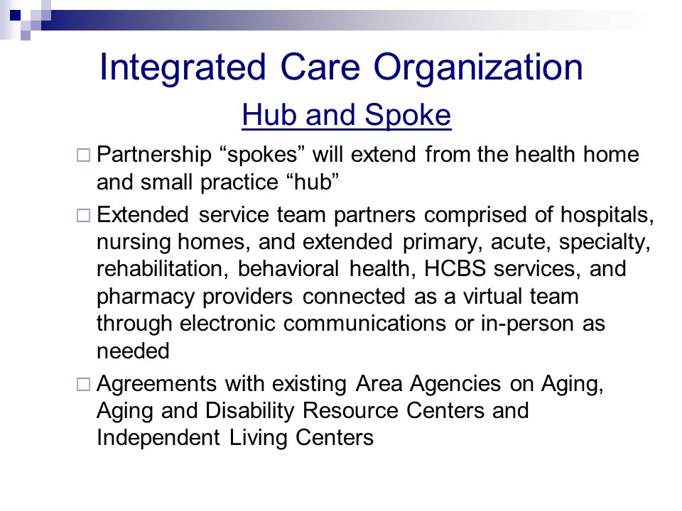 Integrated Care Organization Hub and Spoke  Partnership spokes will extend from the health home and small practice hub  Extended service team partners comprised of hospitals, nursing homes, and extended primary, acute, specialty, rehabilitation, behavioral health, HCBS services, and pharmacy providers connected as a virtual team through electronic communications or in-person as needed  Agreements with existing Area Agencies on Aging, Aging and Disability Resource Centers and Independent Living Centers
