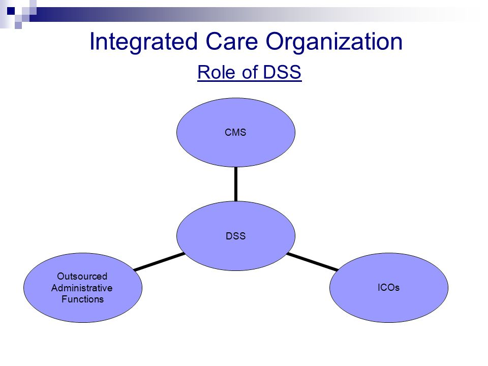 DSS CMSICOs Outsourced Administrative Functions Integrated Care Organization Role of DSS