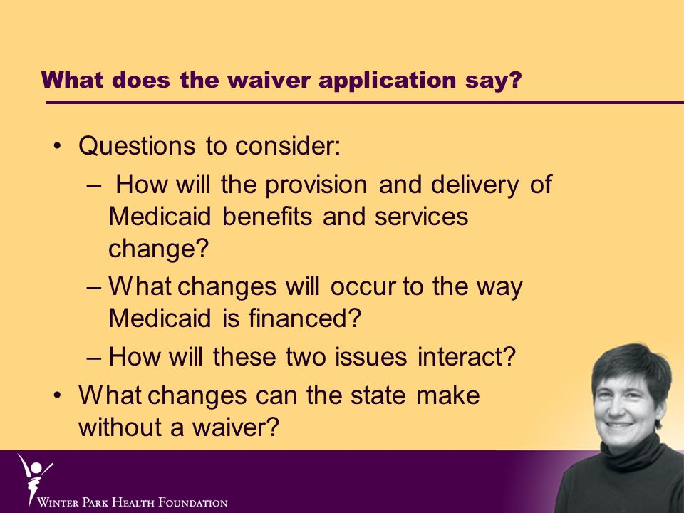 Regular Medicaid Financing and Waiver Financing Compared Regular Medicaid financing State receives federal matching payments for all Medicaid expenditures.