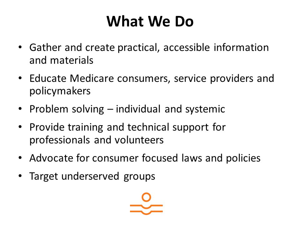 What We Do Gather and create practical, accessible information and materials Educate Medicare consumers, service providers and policymakers Problem solving – individual and systemic Provide training and technical support for professionals and volunteers Advocate for consumer focused laws and policies Target underserved groups