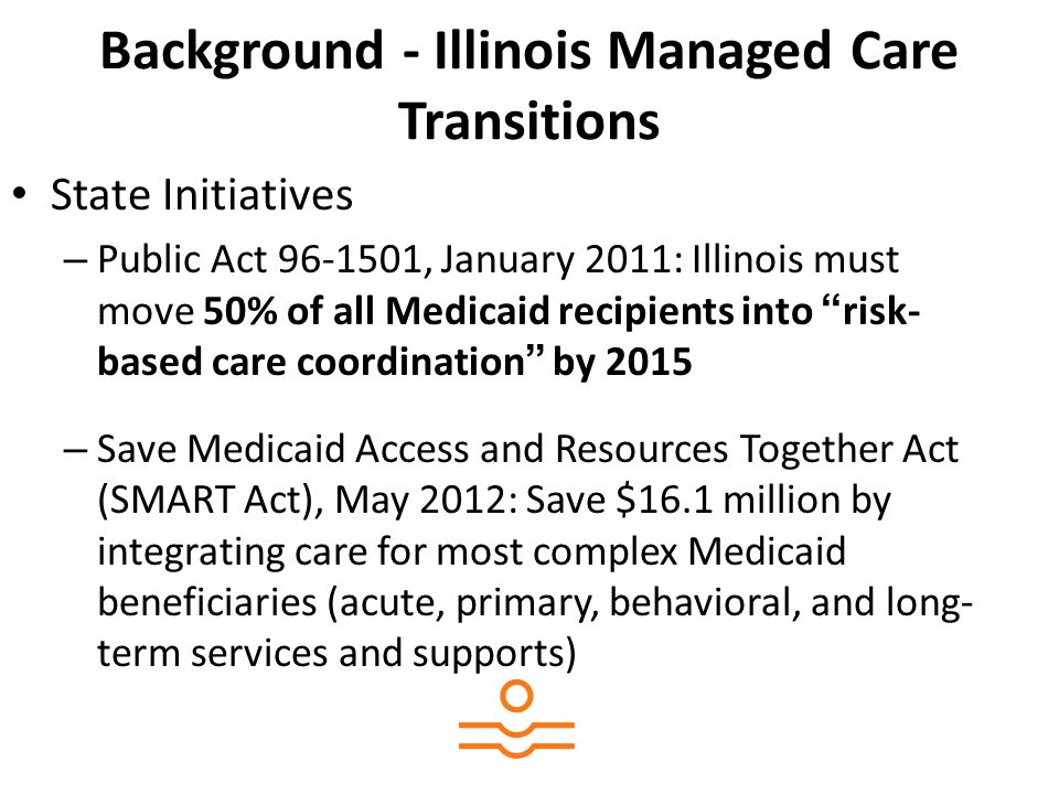 Background - Illinois Managed Care Transitions State Initiatives – Public Act 96-1501, January 2011: Illinois must move 50% of all Medicaid recipients into risk- based care coordination by 2015 – Save Medicaid Access and Resources Together Act (SMART Act), May 2012: Save $16.1 million by integrating care for most complex Medicaid beneficiaries (acute, primary, behavioral, and long- term services and supports)