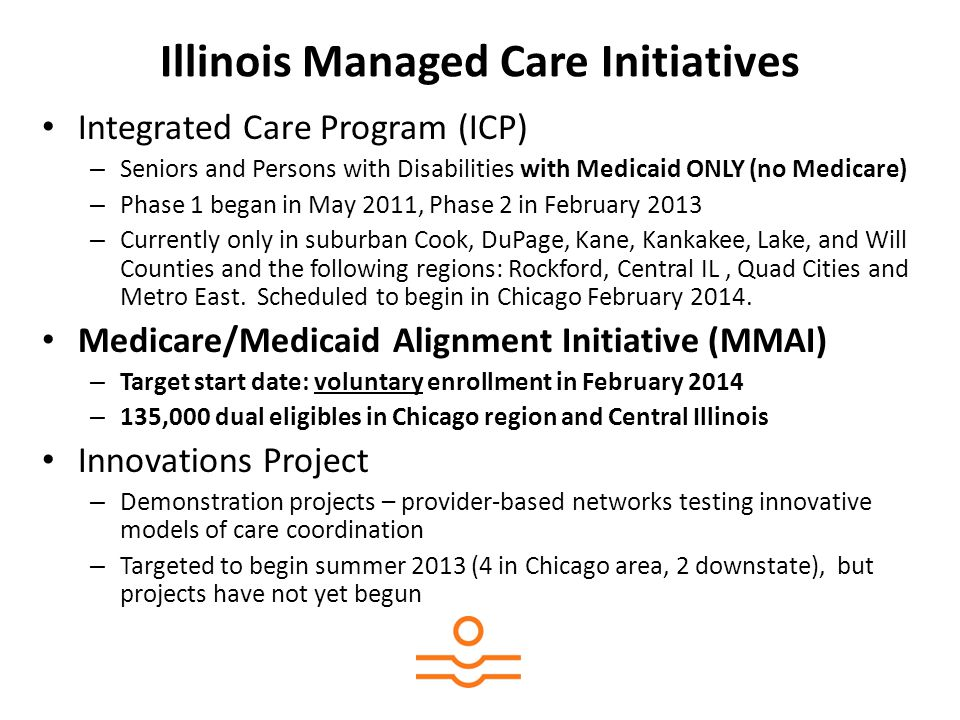 MMAI Plans Illinois Department of Healthcare and Family Services has chosen 8 plans to provide MMAI services: Chicago area (Chicago and surrounding suburbs): – Aetna Better Health – IlliniCare (Centene) – Meridian Health Plan of Illinois – HealthSpring – Humana – Blue Cross/Blue Shield of Illinois Central Illinois: – Molina Healthcare – Health Alliance