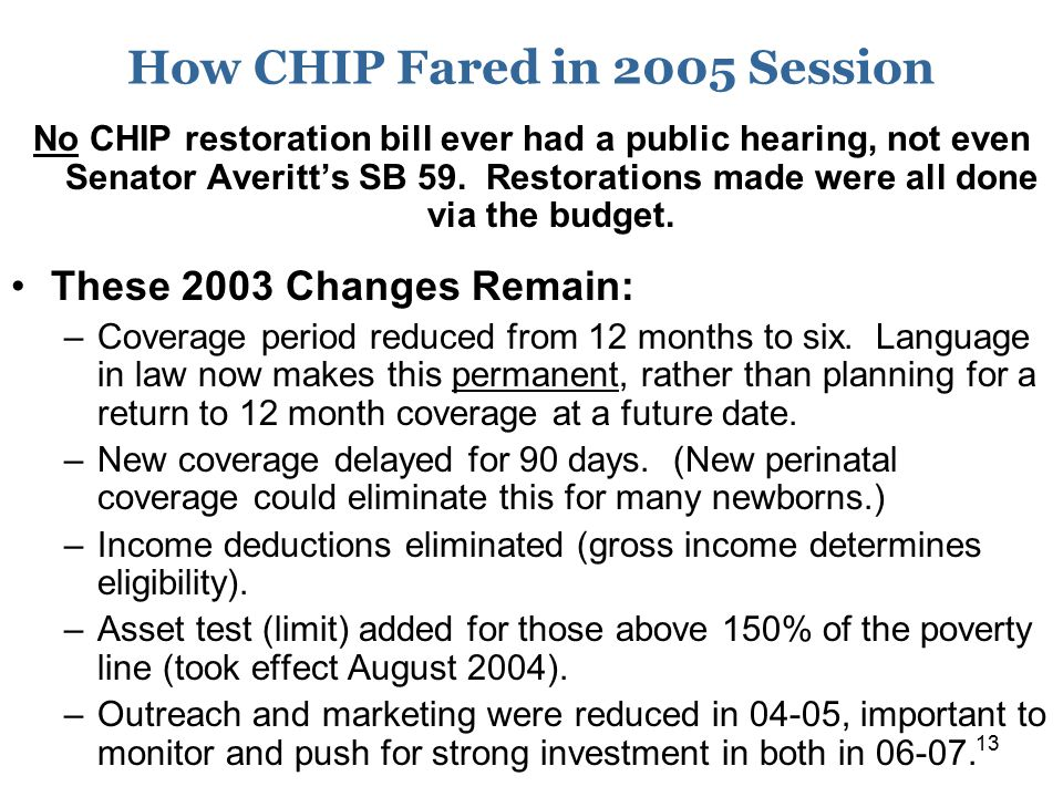 13 How CHIP Fared in 2005 Session No CHIP restoration bill ever had a public hearing, not even Senator Averitt's SB 59. Restorations made were all don