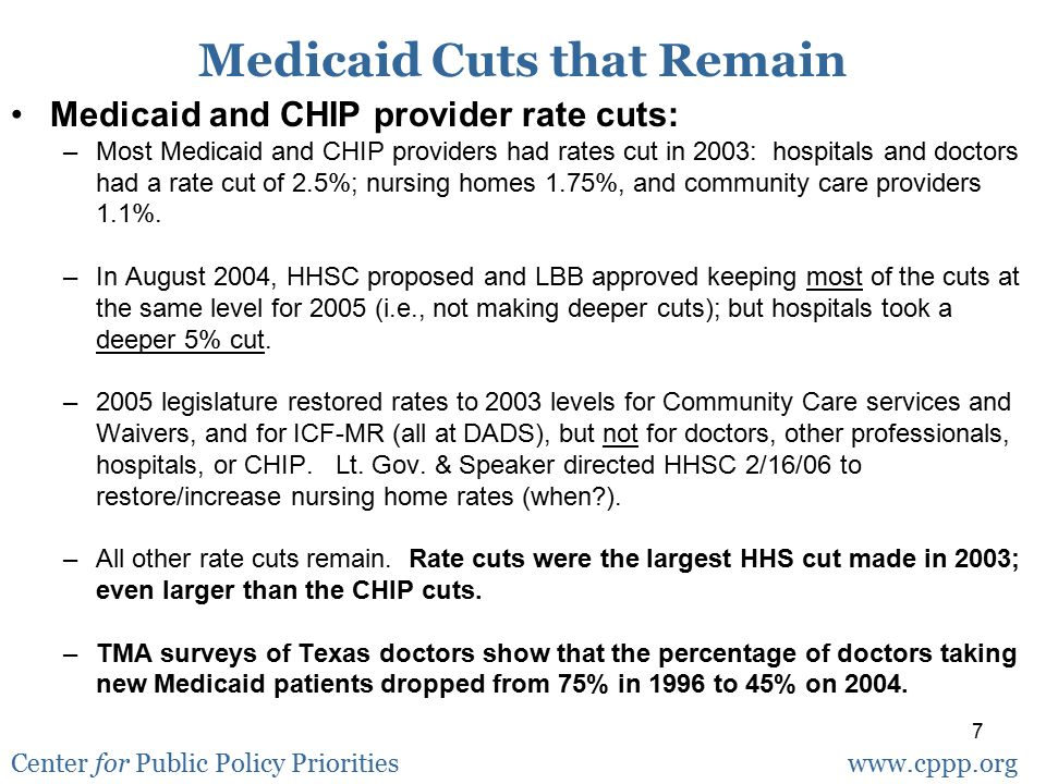 7 Medicaid and CHIP provider rate cuts: –Most Medicaid and CHIP providers had rates cut in 2003: hospitals and doctors had a rate cut of 2.5%; nursing