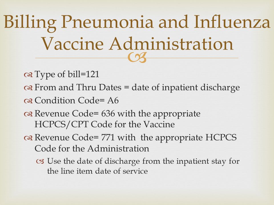   Type of bill=121  From and Thru Dates = date of inpatient discharge  Condition Code= A6  Revenue Code= 636 with the appropriate HCPCS/CPT Code