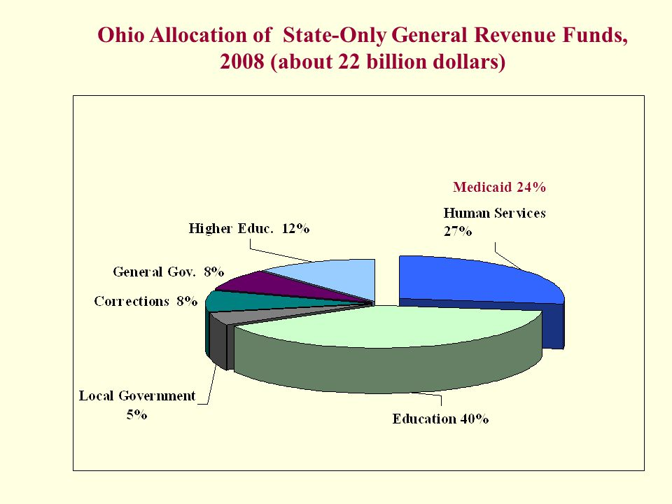 Ohio Allocation of State-Only General Revenue Funds, 2008 (about 22 billion dollars) Medicaid 24%
