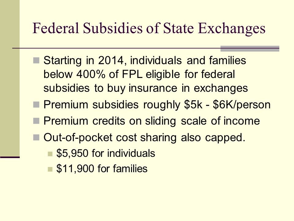 Federal Subsidies of State Exchanges Starting in 2014, individuals and families below 400% of FPL eligible for federal subsidies to buy insurance in exchanges Premium subsidies roughly $5k - $6K/person Premium credits on sliding scale of income Out-of-pocket cost sharing also capped.