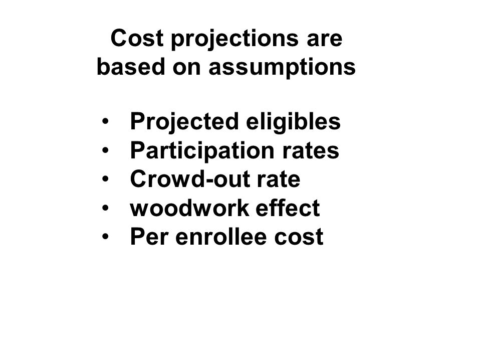 Cost projections are based on assumptions Projected eligibles Participation rates Crowd-out rate woodwork effect Per enrollee cost