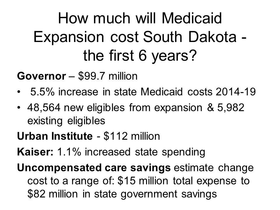How much will Medicaid Expansion cost South Dakota - the first 6 years.