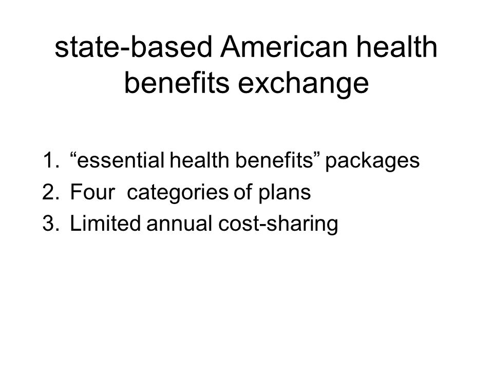 state-based American health benefits exchange 1. essential health benefits packages 2.Four categories of plans 3.Limited annual cost-sharing