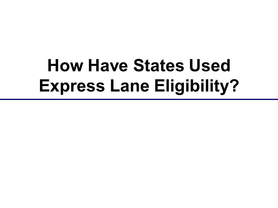 How Have States Used Express Lane Eligibility?