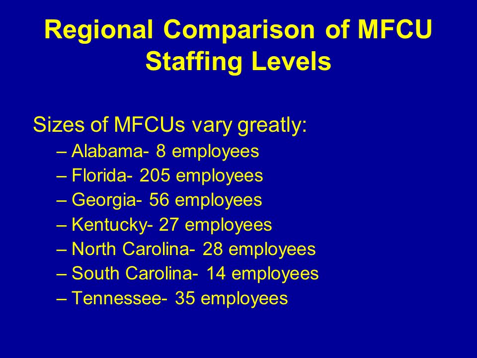 Tennessee's MFCU Located within the Tennessee Bureau of Investigation (TBI) since 1984 Responsible for identifying and helping to recover over $246.6 million since 1984 ($175.8 million since July of 2005) Spent only $39.0 million since 1984 Most fraud prosecutions are in federal court Most abuse prosecutions are in state court