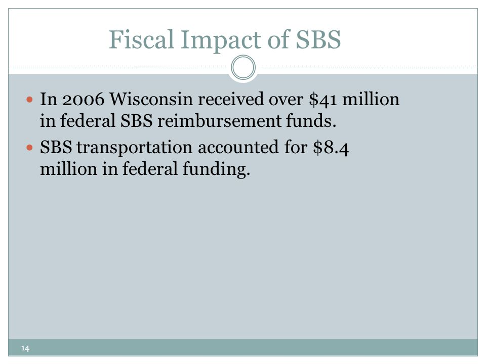 14 Fiscal Impact of SBS In 2006 Wisconsin received over $41 million in federal SBS reimbursement funds. SBS transportation accounted for $8.4 million