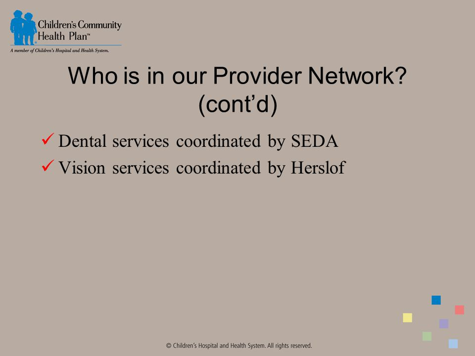 Who is in our Provider Network.