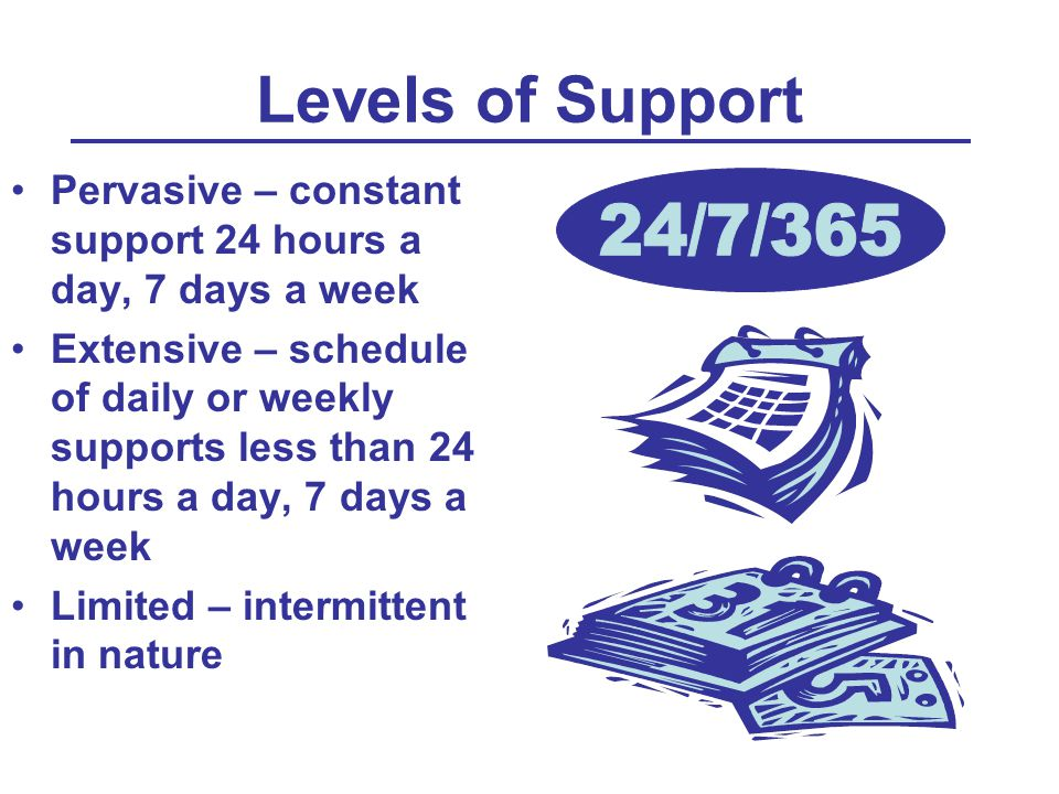 Levels of Support Pervasive – constant support 24 hours a day, 7 days a week Extensive – schedule of daily or weekly supports less than 24 hours a day, 7 days a week Limited – intermittent in nature