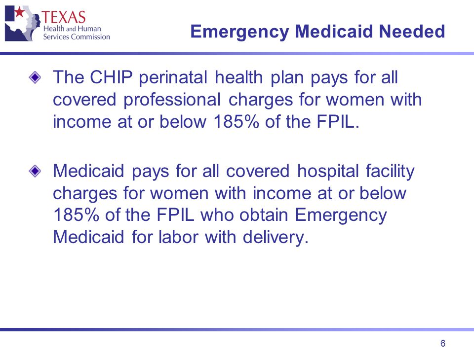 7 TMHP Billing The health plan identification card for women with income at or below 185% of the FPIL have contact information for the Texas Medicaid Health Partnership (TMHP) listed for hospital billing.