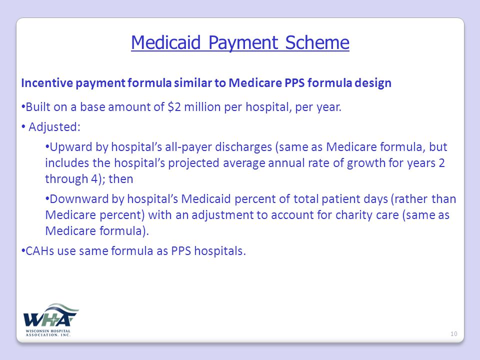 Medicaid Payment Scheme 10 Incentive payment formula similar to Medicare PPS formula design Built on a base amount of $2 million per hospital, per year.