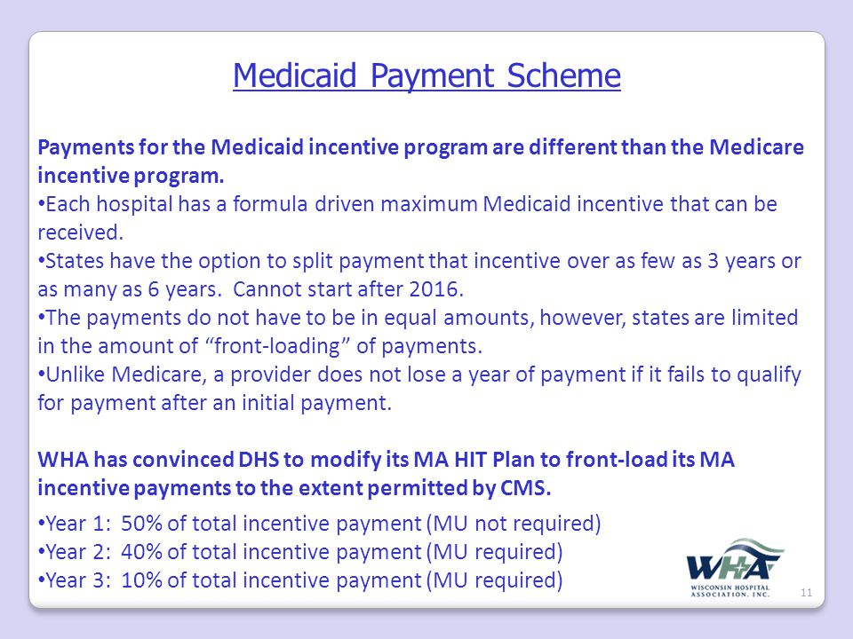 Medicaid Payment Scheme 11 Payments for the Medicaid incentive program are different than the Medicare incentive program.