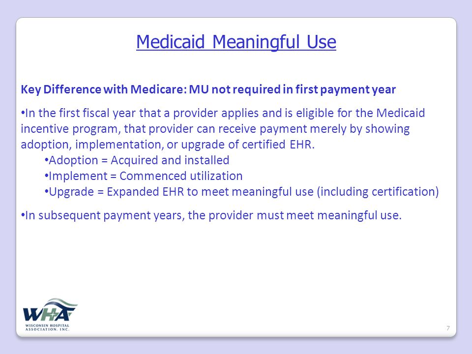 Medicaid Incentive Program Eligibility 8 Hospitals eligible for the Medicaid incentive program: All children's hospitals Acute care PPS hospitals and CAHs that have 10% Title XIX Medicaid volume Not all BadgerCare volume counts as Medicaid volume Per HITECH Act, only Title XIX Medicaid and demonstration programs under Title XIX can be counted.