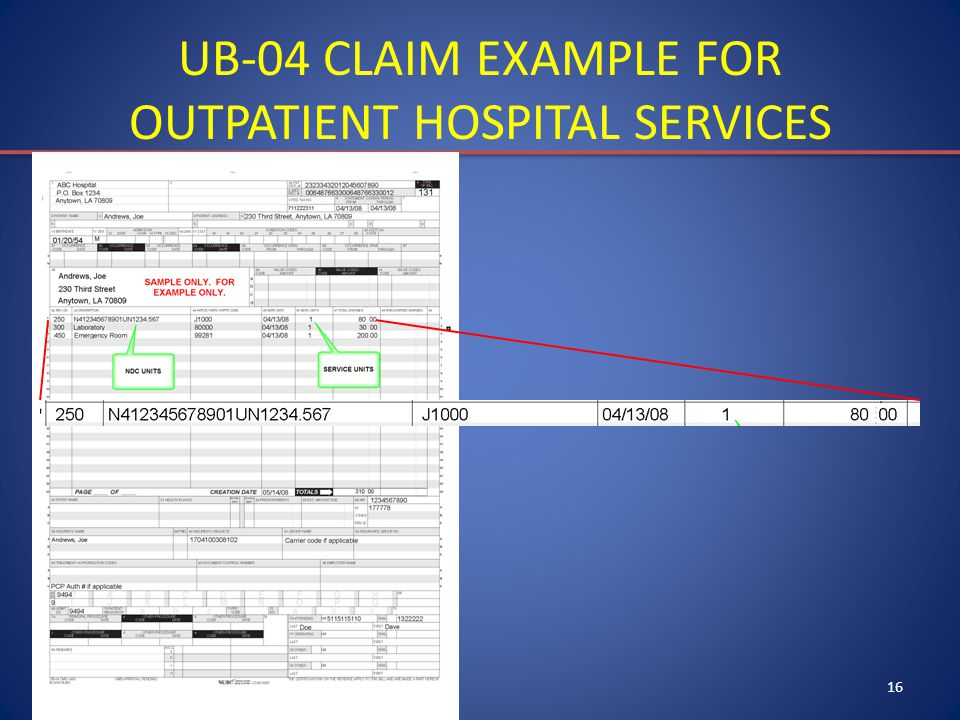 16 UB-04 CLAIM EXAMPLE FOR OUTPATIENT HOSPITAL SERVICES