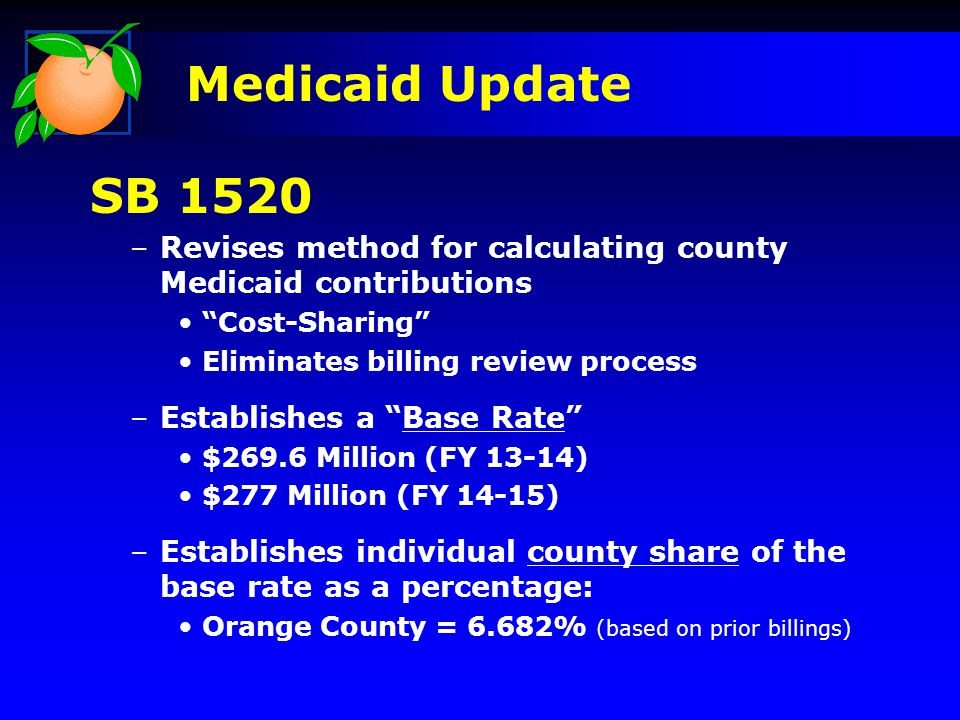 –Revises method for calculating county Medicaid contributions Cost-Sharing Eliminates billing review process –Establishes a Base Rate $269.6 Million (FY 13-14) $277 Million (FY 14-15) –Establishes individual county share of the base rate as a percentage: Orange County = 6.682% (based on prior billings) SB 1520 Medicaid Update