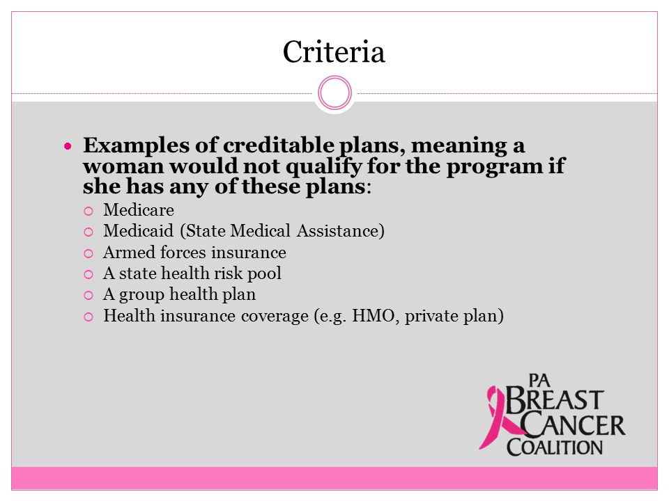Criteria Examples of creditable plans, meaning a woman would not qualify for the program if she has any of these plans:  Medicare  Medicaid (State Medical Assistance)  Armed forces insurance  A state health risk pool  A group health plan  Health insurance coverage (e.g.