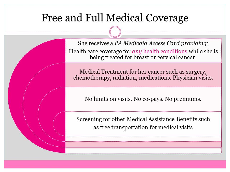 Free and Full Medical Coverage She receives a PA Medicaid Access Card providing: Health care coverage for any health conditions while she is being treated for breast or cervical cancer.