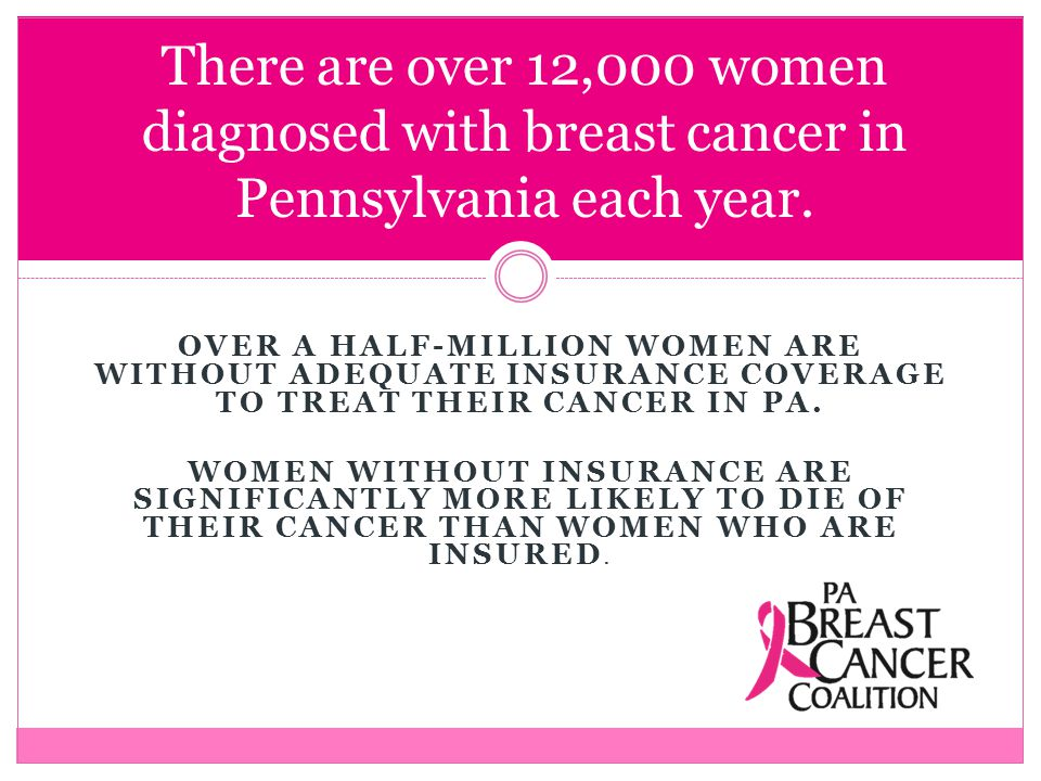 OVER A HALF-MILLION WOMEN ARE WITHOUT ADEQUATE INSURANCE COVERAGE TO TREAT THEIR CANCER IN PA.