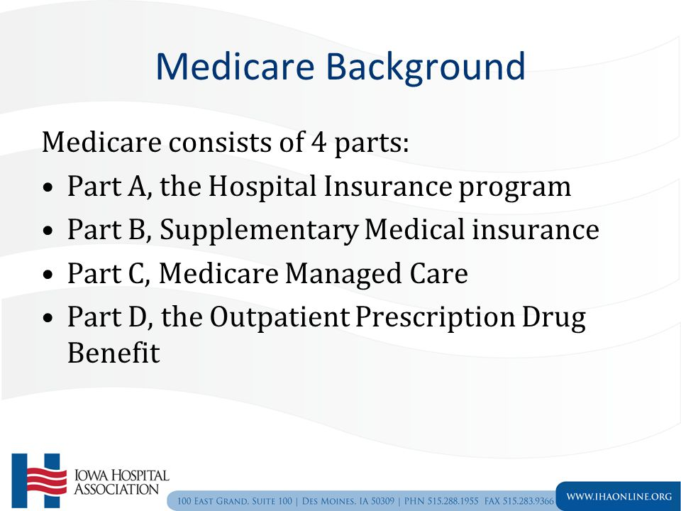 Medicare Background Medicare consists of 4 parts: Part A, the Hospital Insurance program Part B, Supplementary Medical insurance Part C, Medicare Managed Care Part D, the Outpatient Prescription Drug Benefit