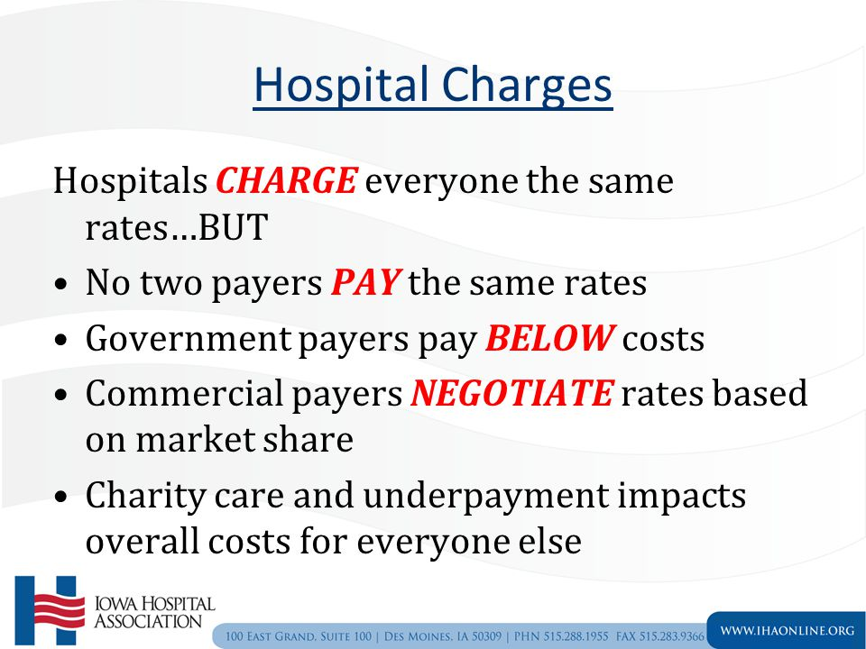 Hospital Charges Hospitals CHARGE everyone the same rates…BUT No two payers PAY the same rates Government payers pay BELOW costs Commercial payers NEGOTIATE rates based on market share Charity care and underpayment impacts overall costs for everyone else