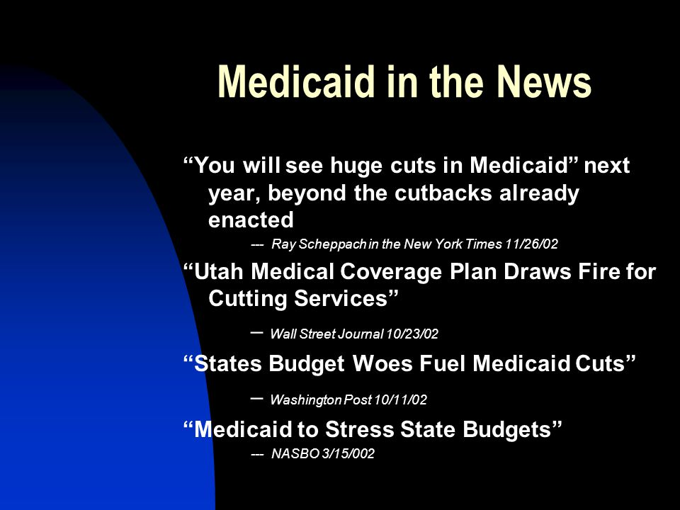 "Medicaid in the News ""You will see huge cuts in Medicaid"" next year, beyond the cutbacks already enacted --- Ray Scheppach in the New York Times 11/26"