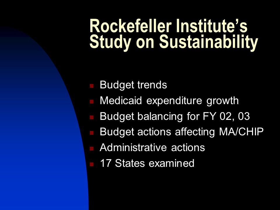 Rockefeller Institute's Study on Sustainability Budget trends Medicaid expenditure growth Budget balancing for FY 02, 03 Budget actions affecting MA/CHIP Administrative actions 17 States examined