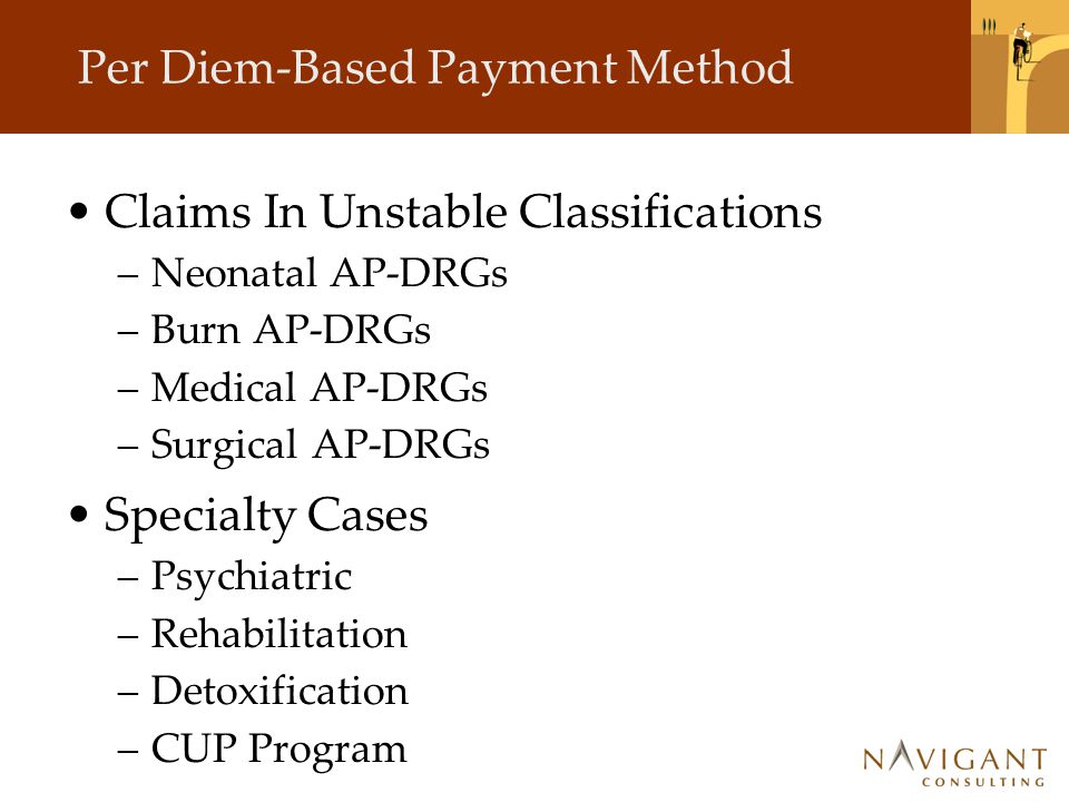 Per Diem-Based Payment Method Claims In Unstable Classifications –Neonatal AP-DRGs –Burn AP-DRGs –Medical AP-DRGs –Surgical AP-DRGs Specialty Cases –Psychiatric –Rehabilitation –Detoxification –CUP Program