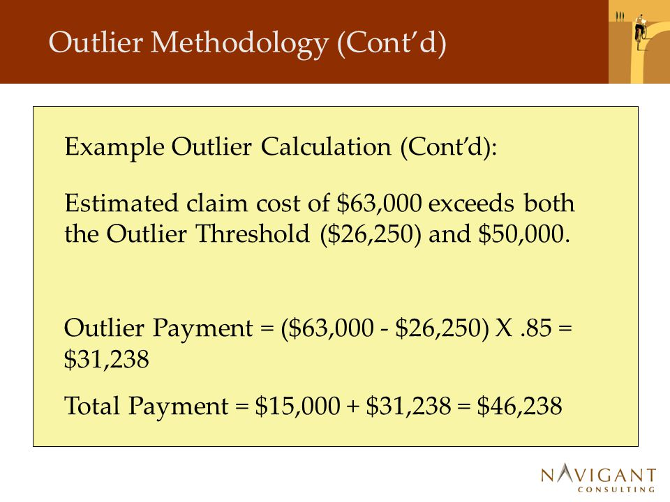 Outlier Methodology (Cont'd) Example Outlier Calculation (Cont'd): Estimated claim cost of $63,000 exceeds both the Outlier Threshold ($26,250) and $5