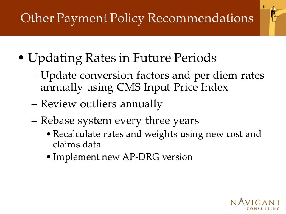 Other Payment Policy Recommendations Updating Rates in Future Periods –Update conversion factors and per diem rates annually using CMS Input Price Ind
