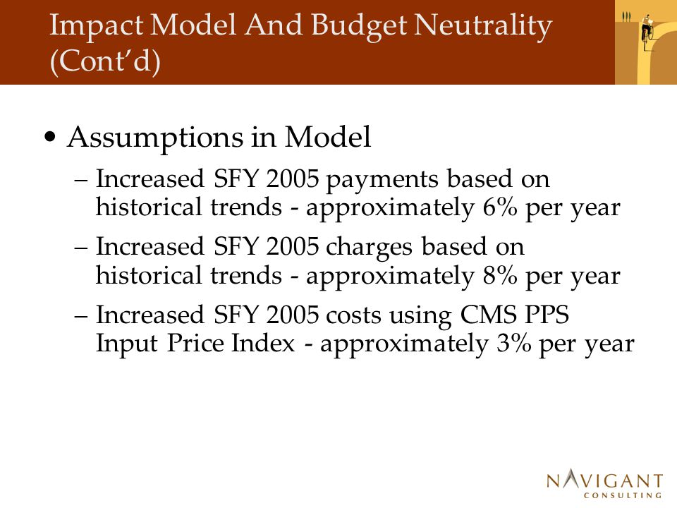 Impact Model And Budget Neutrality (Cont'd) Assumptions in Model –Increased SFY 2005 payments based on historical trends - approximately 6% per year –Increased SFY 2005 charges based on historical trends - approximately 8% per year –Increased SFY 2005 costs using CMS PPS Input Price Index - approximately 3% per year