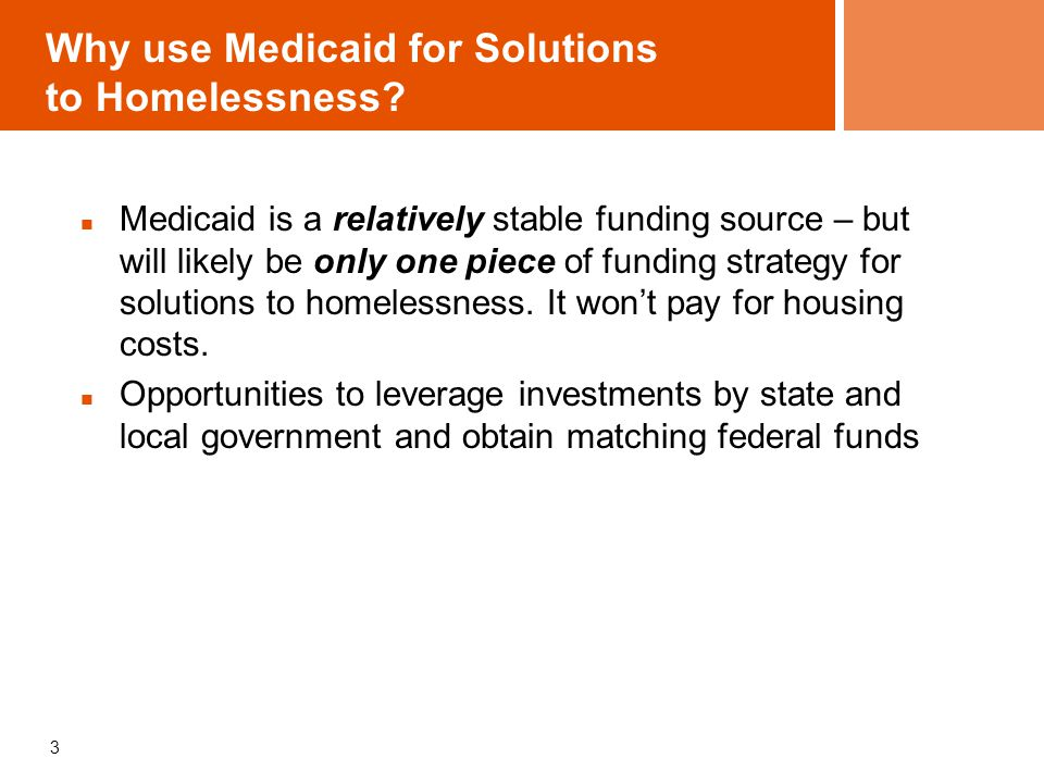 4 Medicaid – the basics Federal Financial Participation (FFP) matches state (non-federal fund) contributions: federal contribution averages 57% of Medicaid costs Federal rules and waivers administered by Center for Medicare & Medicaid Services (CMS) formerly Health Care Financing Agency (HCFA) State Medicaid Plan : contract between state and federal government Basic health services + State Options: optional benefits two-thirds of all Medicaid spending